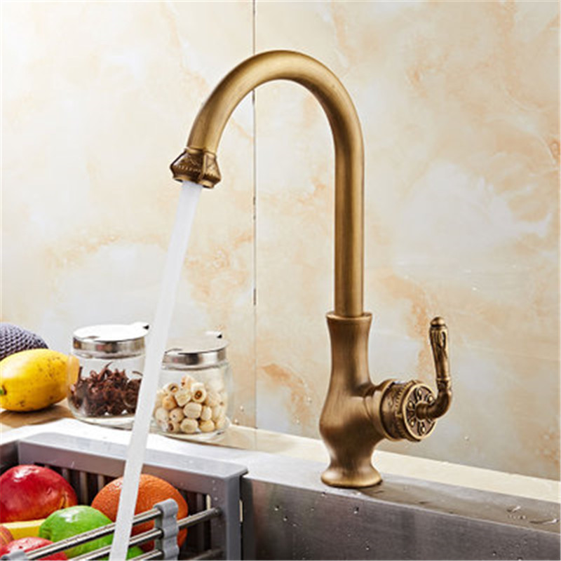 Kitchen Faucet Antique Brass Carved Kitchen Faucet Copper Swivel Kitchen Sink Mixer Tap Crane Faucet Hot Cold Cocina Torneira