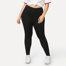 Women's Sport Plus Size Black Striped Side Fitness