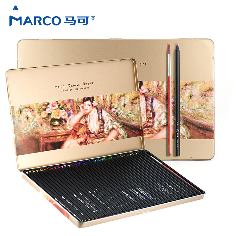 Marco Raffine 24/36/48 Colors Professional Drawing Colored Pencil Set Iron Box Soluble Color Pencils School Supplies marco raffine fine art colored pencils 24 36 48 colors drawing sketches mitsubishi colour pencil for school supplies