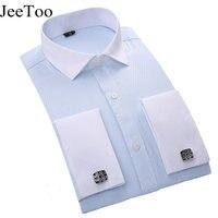 JeeToo Brand French Cufflinks Men Shirt Long Sleeve Slim Fit Business Male Shirts French Cuff Fashion