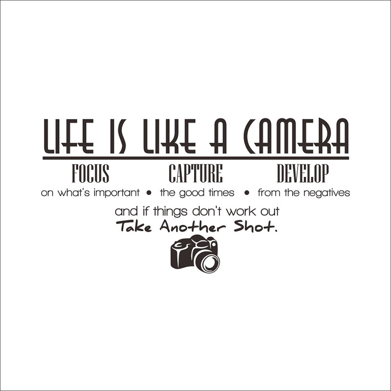 Quotes About Art And Life Custom Life Is Like A Camera Quotes Wall Stickers Living Room Decoration