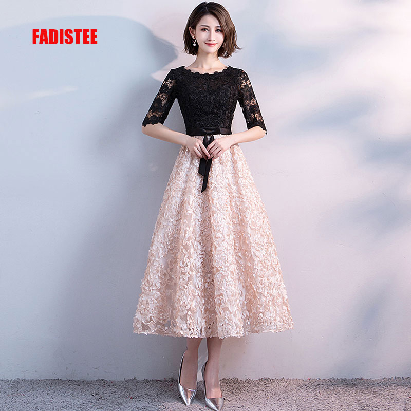FADISTEE New Arrival Elegant Evening Party Prom Dresses Tea-length Gown A-line Satin Lace Robe De Soiree Half Lace Sleeves