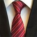 Red stripe Ties 2017 Novo barato 8 cm homens Laços Tecido Jacquard Gravata dos homens Formal Do Casamento negócios gravata do laço Estreito de Slim Skinny para os homens