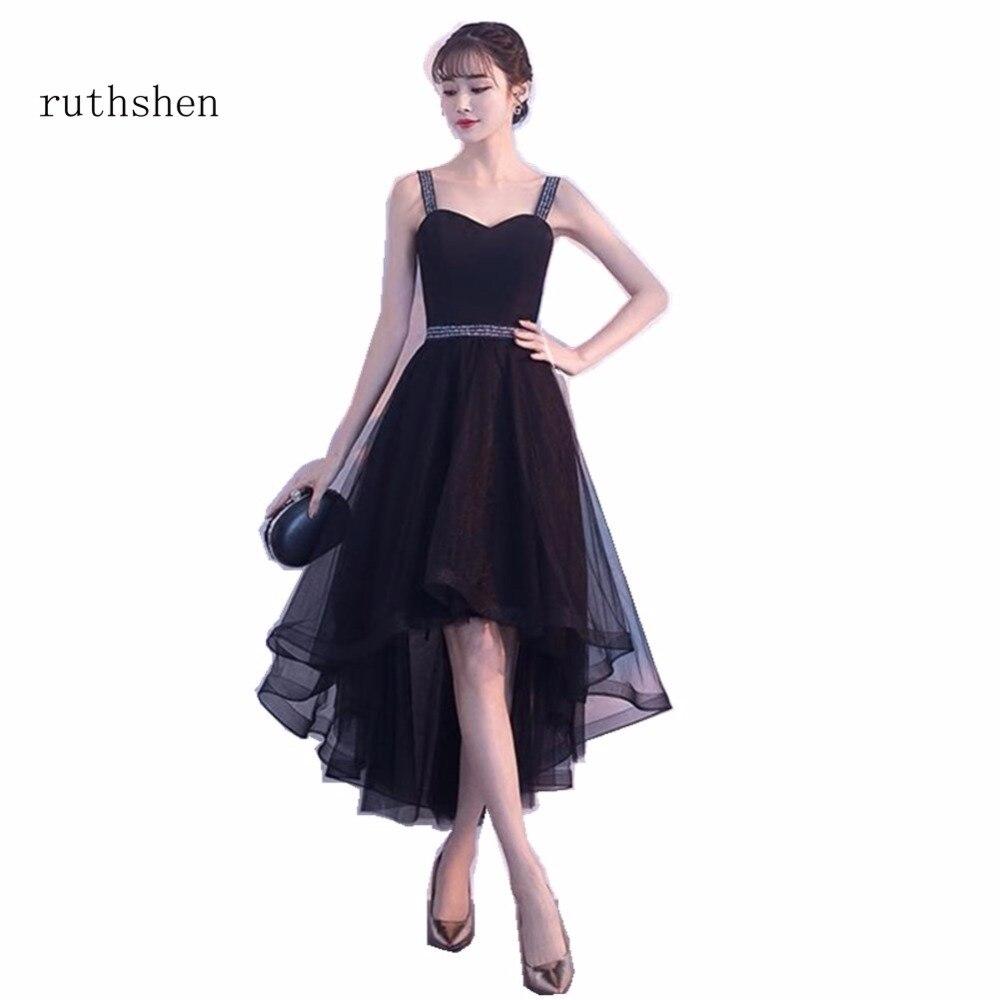 ruthshen   Prom     Dresses   High Low A Line Party   Dresses   Sleeveless Arabic Dubai Short Front Long Back Vestidos Para Festa Curto 2018