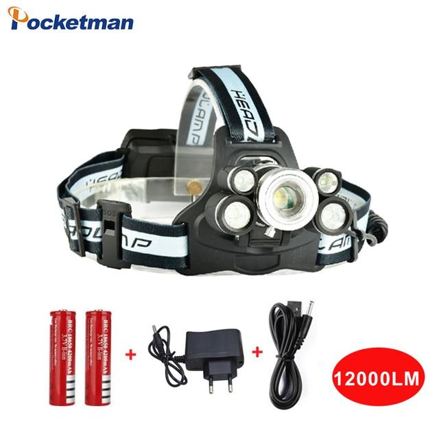 Zoom 5 Leds Headlight 12000lm Waterproof Headlamp Cree xml T6+4*Q5 Head Flashlight Lamp Light 18650 Battery Front Light z30