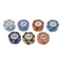 5 шт. фишки для покера, глиняные монеты для казино, 14 г, Техасский Холдем, баккара, защита для карт, 4 см