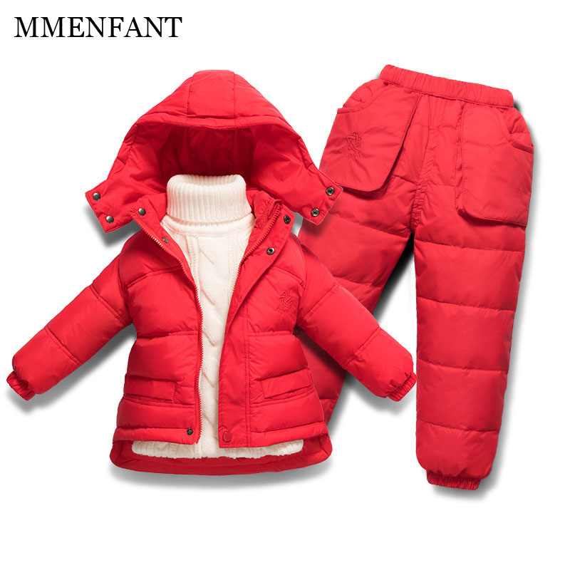 Children Winter Down Jacket Boys Warm Outerwear Coats Girls Clothing Set Or Coat Kids Ski Suit Jumpsuit For Boys Baby Overalls children winter warm jacket baby down coat outerwear boys girls 90