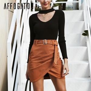 Image 4 - Affogatoo גבוהה מותניים זמש עור חצאיות 2018 סתיו חורף חגורת ruched bodycon חצאית נשים אסימטרית קצר חצאיות נקבה