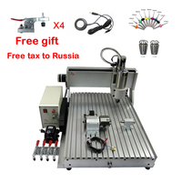 1.5KW 3axis metal wood milling machine 6090 4axis cnc router free cutter ER11 collet 1500W drill bits auto checking clamp