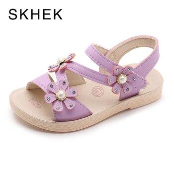 81b763b66 SKHEK blanco plano sandalias para niñas 2019 nuevo estudiante zapatos de princesa  zapatos de bebé sandalias bebé blanco de verano de Sandalies