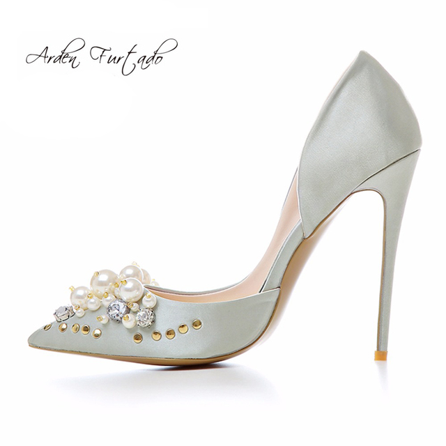 Extreme High Heels Party Stiletto Slip On Pearl Flower Wedding Dress Shoes