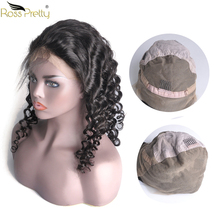 Ross Pretty Hair Remy Deep Wave Peruvian full lace human hair wigs Natural color 1b Pre Plucked and Baby wig