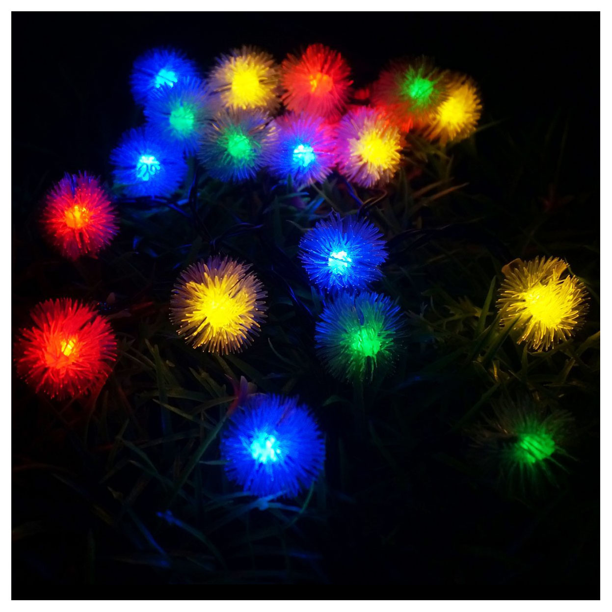LED 4.8m 20 LED Solar Outdoor String Fairy Lights Snowball Solar Powered Outdoor String Lights for Outside Garden Camping Patio