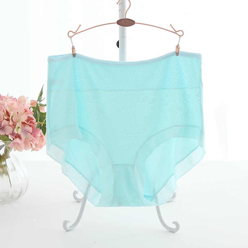Pinggang Tinggi Mesh Ventilasi Pakaian Dalam Wanita Celana Dalam Wanita Hollow Keluar Plus Ukuran 7XL Ukuran Besar Celana Dalam Seksi Lingeries Intimate