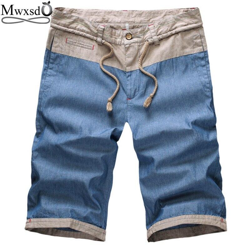 Mwxsd brand Mens Casual linen Cotton Shorts summer men ...