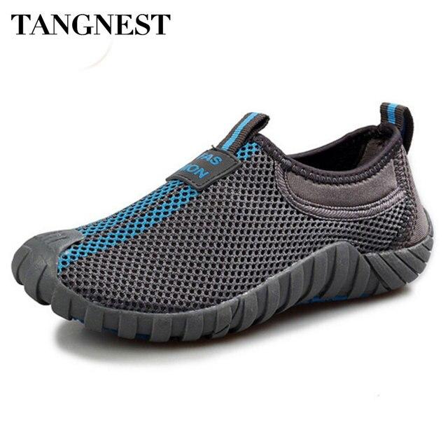 Tangnest Người Đàn Ông của Lưới Căn Hộ 2017 Mới Những Người Yêu Thích Giày Thoáng Khí Nền Tảng Mạng Lưới Giày Người Đàn Ông Da Mùa Hè Kích Thước 35-44 XYP007
