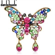 danbihuabi New Fashion enamel brooch pins crystal jewelry Retro colored butterfly animals brooches for women christmas gifts
