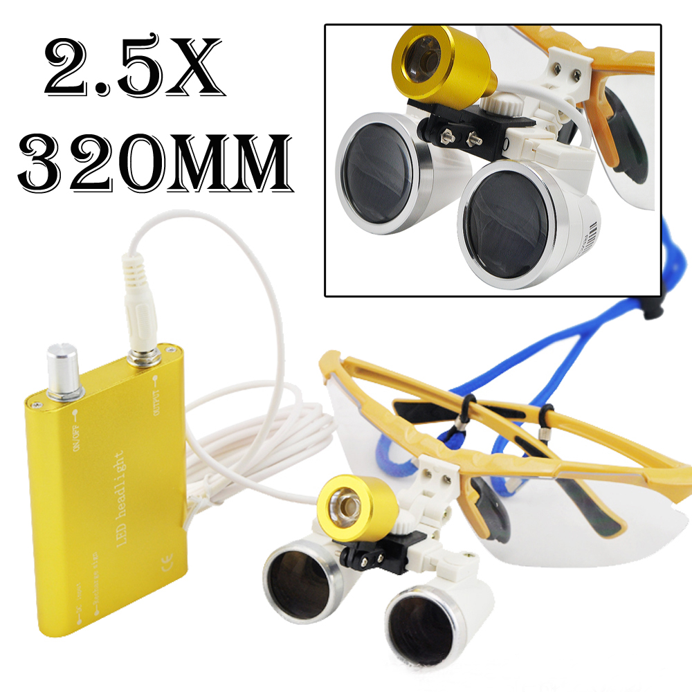 New Arrival Surgical magnifier 2.5X320mm Binocular Dental Loupe Optical Glass + Portable LED Head Light Lamp 3 5x420mm dental surgical loupe magnifier portable medical binocular glasses oral camera head light lamp teeth whitening