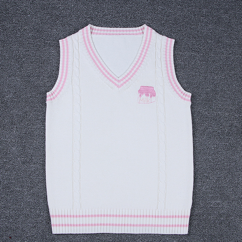 JK Uniform Japanese School Sweater Milk Pink Sweater Waistcoat Black all-match Daily Clothes Cosplay Costumes