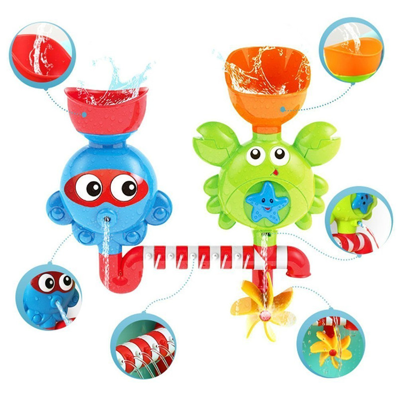 Waterfall Water Station Bath Toy - Bathtub Toy With Two Stackable Cups Fountain Water Shower Toy For Children Kids