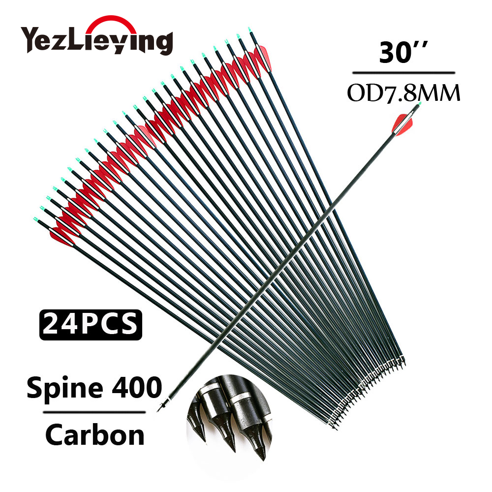 24pcs Hunting Carbon Arrow Length 30 Inches Spine 400 Red