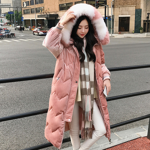 Gold Velvet Cotton Women's Long Section Korean Version 2018 New Winter Long Down Cotton Padded Women Long Over The Knee Coat Tid