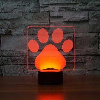 Dog Paw Modellazione 3D Lampada Da Tavolo LED Colorato Cane Bello Orme Nightlight Camera Da Letto Decor USB Illuminazione Sonno Del Bambino Scherza I Regali