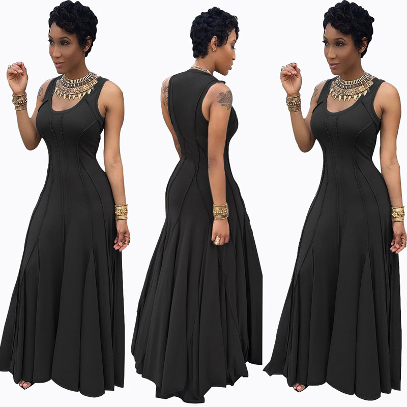1bc8576fb2aa African Dresses for Women High Waist Slim Casual Party Evening Black Sleeveless  Summer Fit and Flare