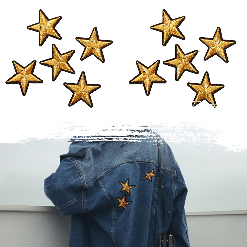 5/10Pcs Gold Star Pattern Embroidered Iron On Badges Patch ...