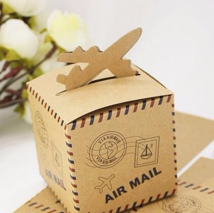 100pcs Lot Free Shipping 6cm Kraft Paper Plane Candy Box Air Mail Wedding Favor Bo For Travel Theme In Gift Bags Wring Supplies From