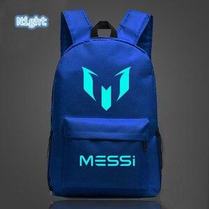 Image 4 - 2018 School Shoulders Soccer Bags Messi Backpack Logo Printing Luminous Backpacks For Children Kids Travel Mochila
