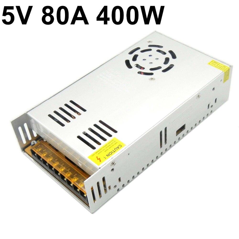 Universel 400W 5V 80A alimentation à découpage entrée AC110-220V à dc5V Ac à Dc pilote d'alimentation S-400-5 pour éclairage à LED pour écran