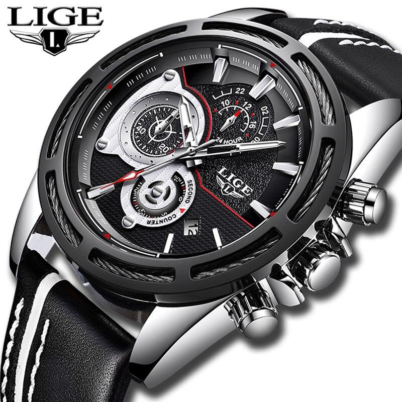Relojes Hombre 2018 Nouveau LIGE Bracelet À Quartz montre Mâle Grand Cadran Argent En Cuir Noir Montres Hommes Sauvage Sport Étanche Chronographe