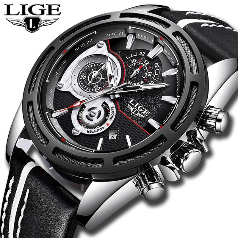 Relojes Hombre 2019 New LIGE Quartz Wrist watch Male Big Dial Silver Black Leather Watches Men Wild Sport Waterproof Chronograph