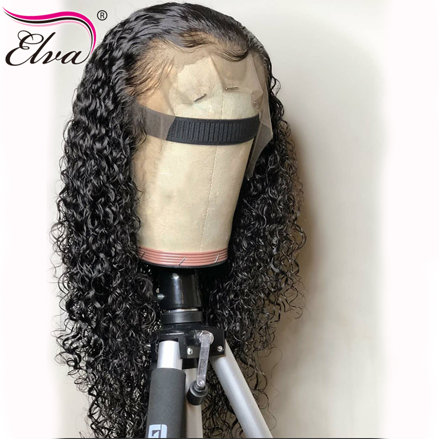 Glueless 150% Density 13x6 Lace Front Human Hair Wigs With Baby Hair Pre Plucked Natural Hairline Bleach Knots Curly Elva Hair