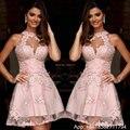 Elegant Cocktail Dresses Pink Halter Lace Appliques Short Prom Dress Backless Party Dresses Plus Robe De Cocktail 2017