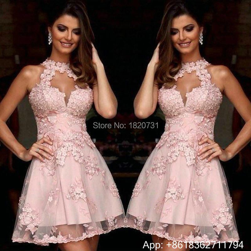 Elegant   Cocktail     Dresses   Pink Halter Lace Appliques Short Prom   Dress   Backless Party   Dresses   Plus Robe De   Cocktail   2019