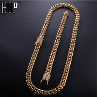 1set Hip Hop Iced Out Miami Necklace + Bracelet Rhinestone Clasp Gold 316L Stainless Steel Cuban Chain Necklaces For Men Jewelry