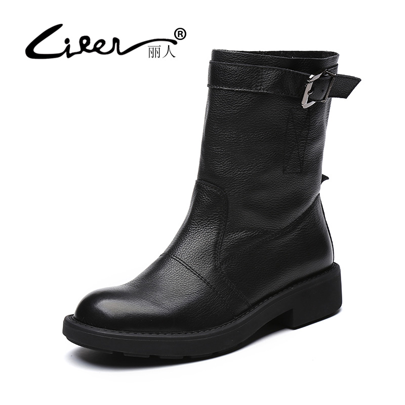 LIREN Black Women Winter Shoes Women Genuine Leather Pigskin Lined Boots Brand Women Shoes High Quality Mid Calf Boots Female 2017 black women boots sheepskin winter warm plush female boots mid calf genuine leather women shoes