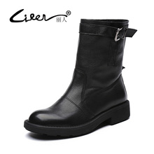 LIREN 2017 Women Fashion Size 43 Genuine Leather Shoes Female Spring Autumn Platform Ankle Boots Flat Woman Buckle Casual