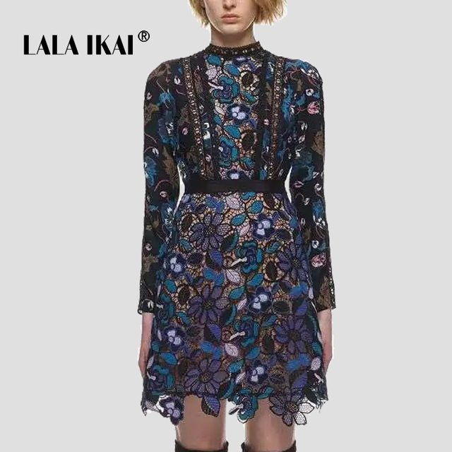 Lala Ikai Retro Fl Lace Dresses Women Trendy Long Sleeve Party Vestidos Mujer Elegant Elora