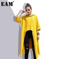 EAM 2018 New Summer Hooded Long Sleeve Black Drawstring Irregular Dovetail Loose Big Size Sweatshirt