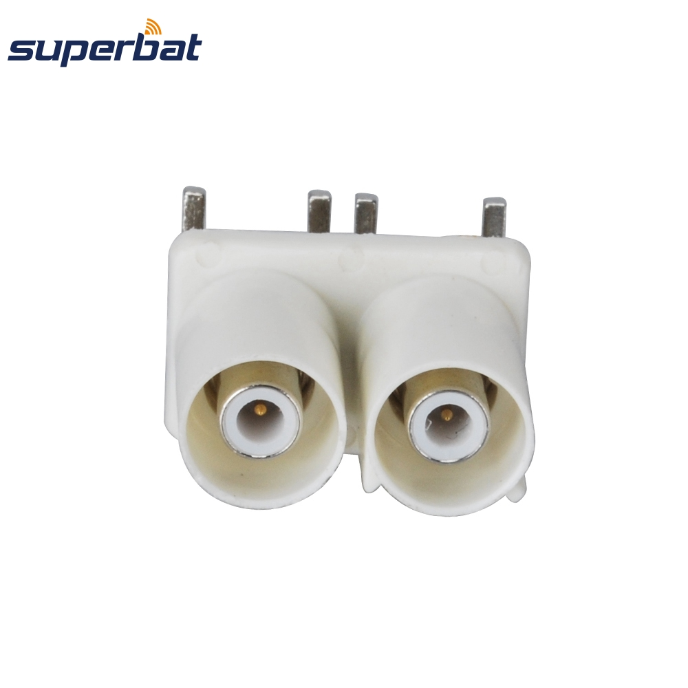 Superbat 10pcs Fakra Connector Plug Male End Launch PCB Mount Right Angle Double-headed