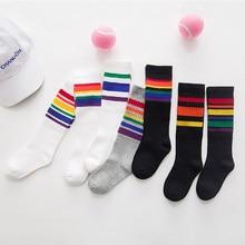 2018 Ins Girls Toddler Knee High Kids Socks Cotton Rainbow S