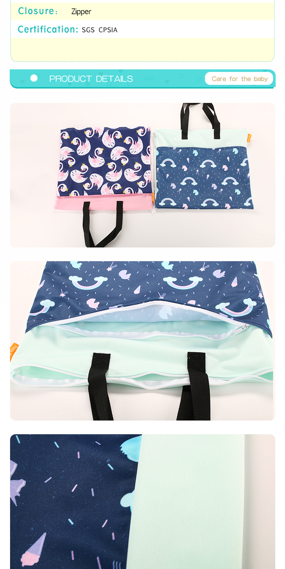 Happy flute 1 pcs Large Hanging Wet/Dry Pail Bag for Cloth Diaper,Inserts,Nappy, Laundry With Two Zippered Waterproof,Reusable