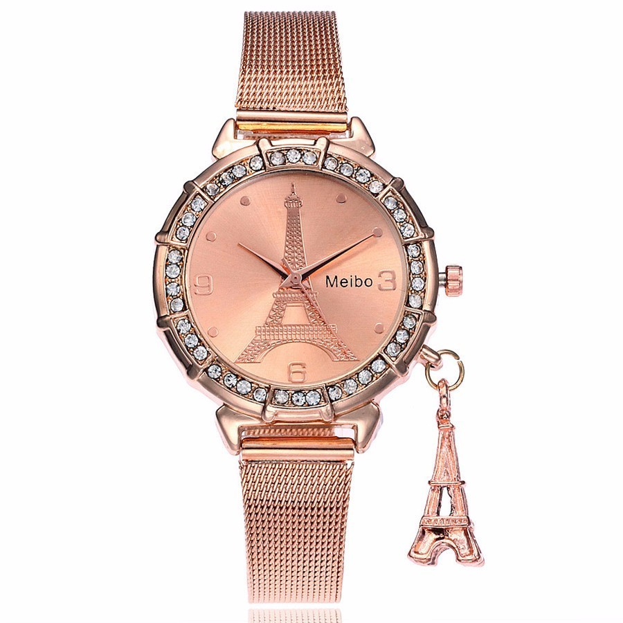 MEIBO Brand Fashion Silver Gold Mesh Band Eiffel Tower Watches Casual Women Metal Stainless Steel Tower Pendant Quartz Watches