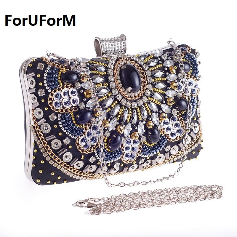 Woman Evening bag Women Diamond Day Clutches female Crystal Beading Day Clutch Wallet Wedding Purse Party Banquet Bag LI-1103 crystal evening bag diamond clutch women evening handbag wedding party purse bling banquet bag 88432