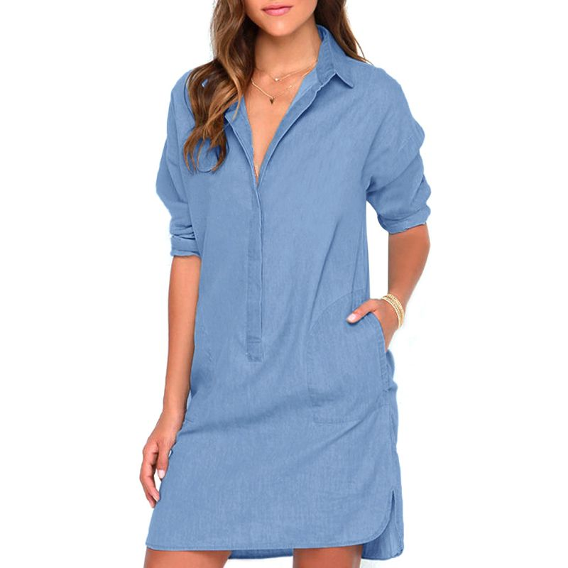 8a8b20596f052 2017 Women s Sexy Casual Blue Denim Type V Collar Neutral Party Club Mini  Jeans Dress