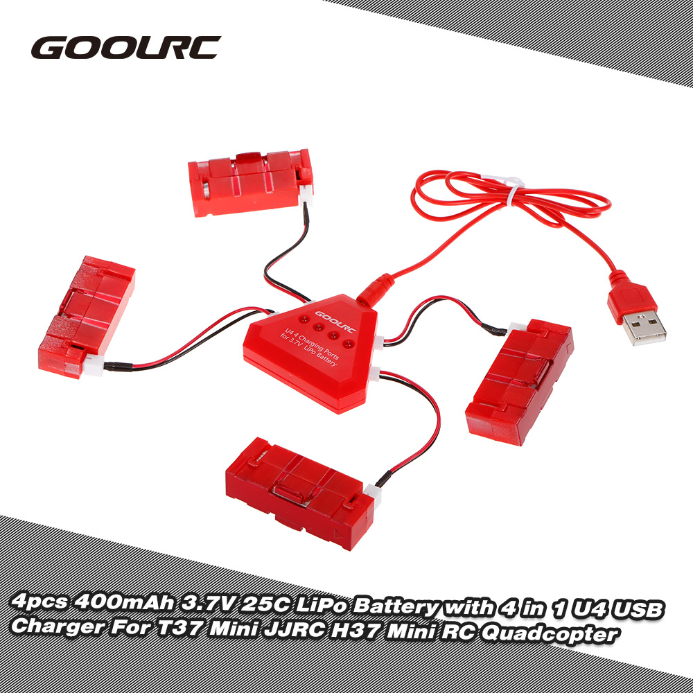GoolRC 4pcs RC Battery 400mAh 3.7V 25C LiPo Battery with 4in1 U4 USB Charger for T37 Mini JJRC H37 Mini Quadcopter RC Drone 6pcs xpower lipo batteries jjrc h11c drone battery 3 7v 1000mah 20c jst for jjrc h11wh h11d hq898 rc quadcopter drone part