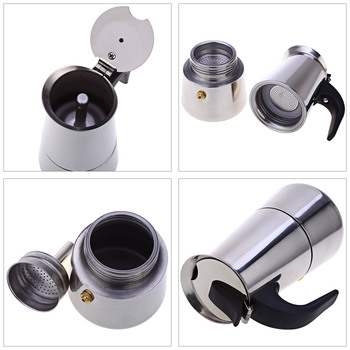 Stainless Steel Coffee Pot Mocha Espresso Latte Percolator Stove Coffee Maker Pot Percolator Drink Tool Cafetiere Latte Stovetop 3